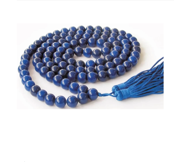 BLUE HAKIK (AGATE) MALA FOR RAHU NIVARAN