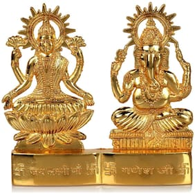 Gifts & Decor Gold Plated Decorative Laxmi Ganesha Statue