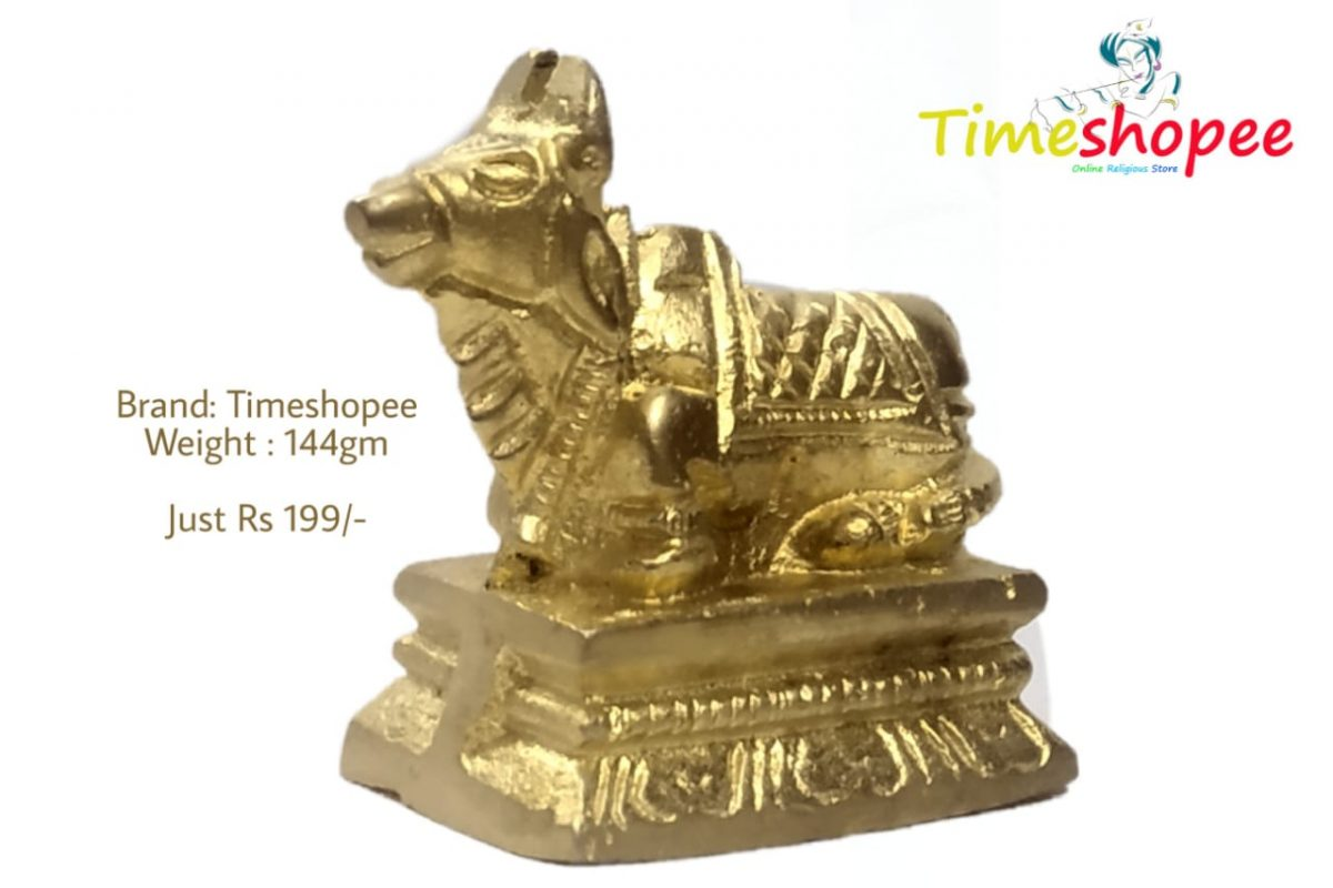 Beautifully Carved Brass Nandi Ji Sculpture Ride of Shiva Bull Statue By Timeshopee