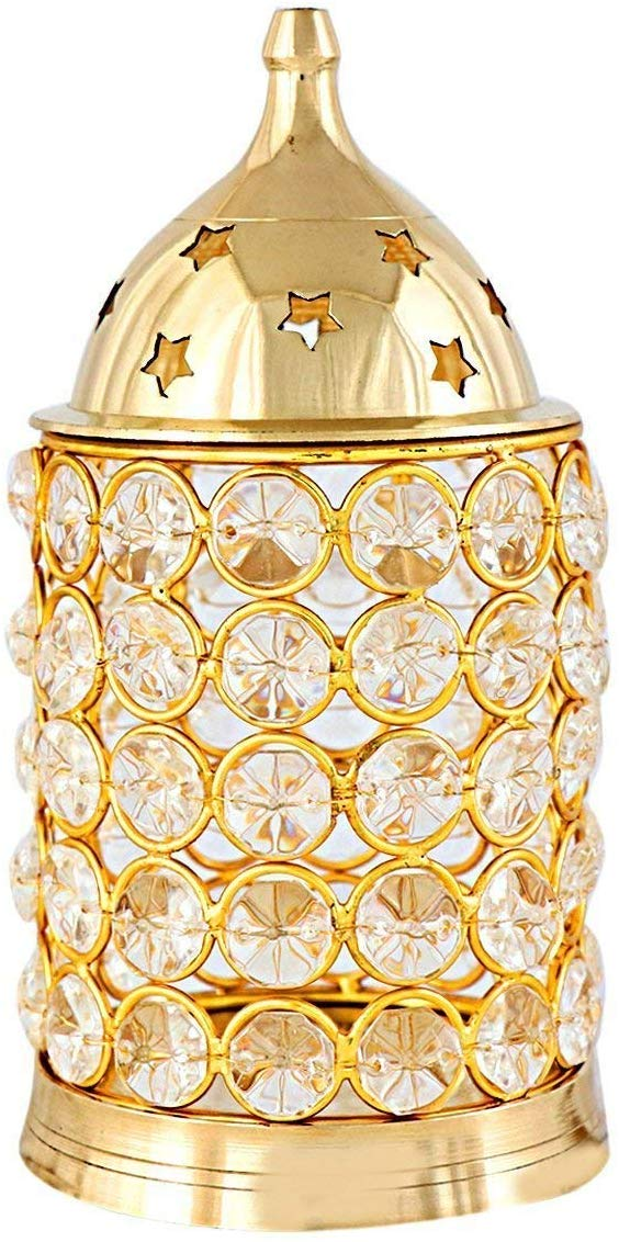 Cylinder Shaped Crystal Akhand Diya for Temple By Timeshopee