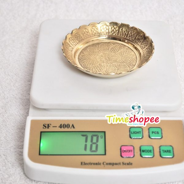 Brass Pooja Plate (Golden) By Timeshopee