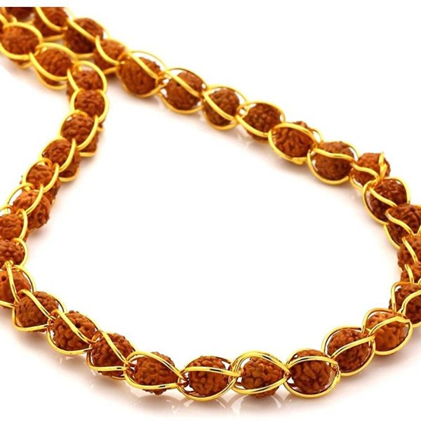 Gold Plated Brass Beads with 5 Mukhi Rudraksha Mala