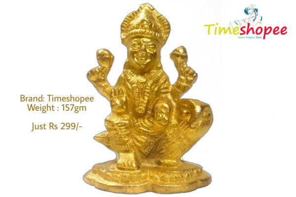Hindu Goddess Laxmi Idol for Wealth Brass Statue Sculpture for Home Temple Décor By Timeshopee