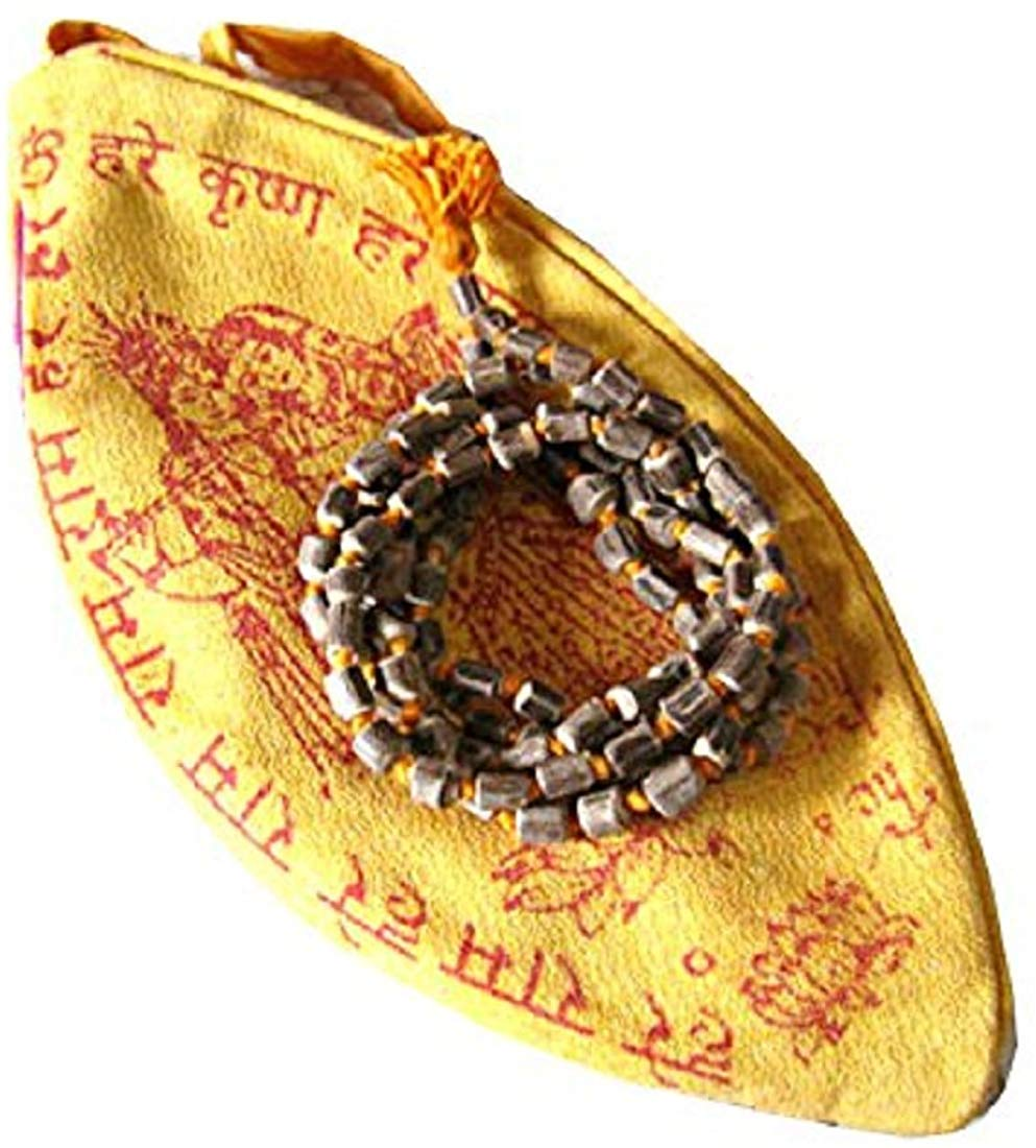 Natural Tulsi Mala With Gomukhi Japa Mala Bag
