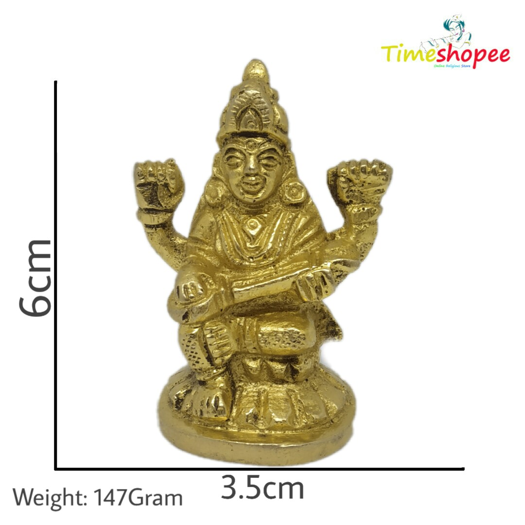 Maa Saraswati Idol Sitting/Saraswati MATA Brass Idol/Devi Saraswati Siddhi Idol for Puja By Timeshopee