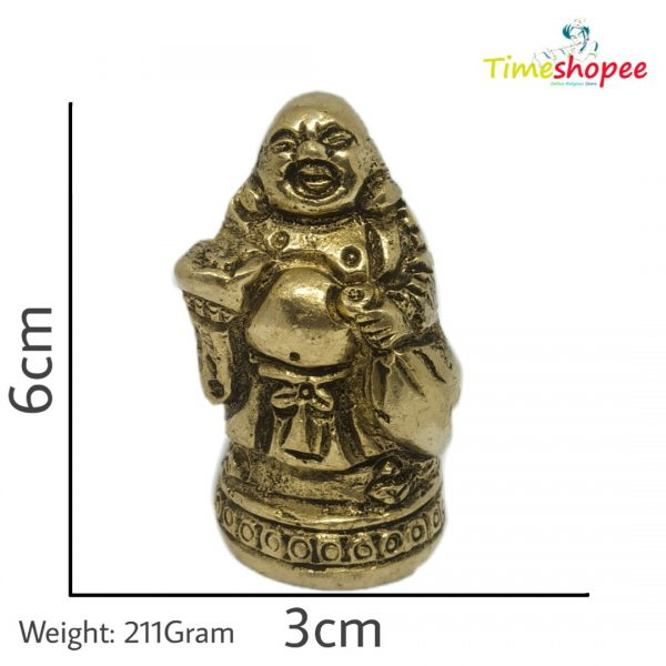 Brass Laughing Buddha Standing Idol for Good Luck