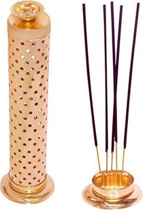 Agarbatti Stand with Dhoop Holder on Top Gold Plated