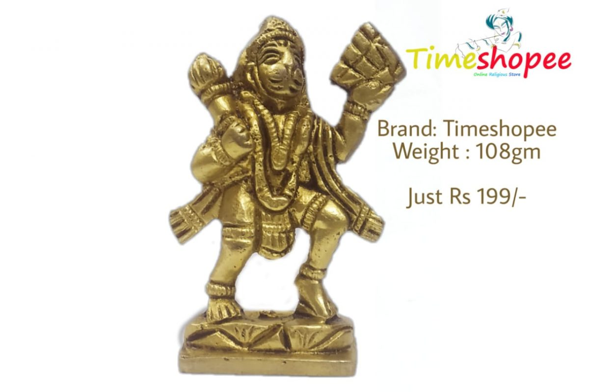 Asta Dhatu Brass Bajrang Bali Idol with Sumeru Hill Protect from all Kind of Negative Energy, Golden By Timeshopee