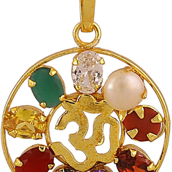 Navratan Om Locket/Pendant Golden Brass Made