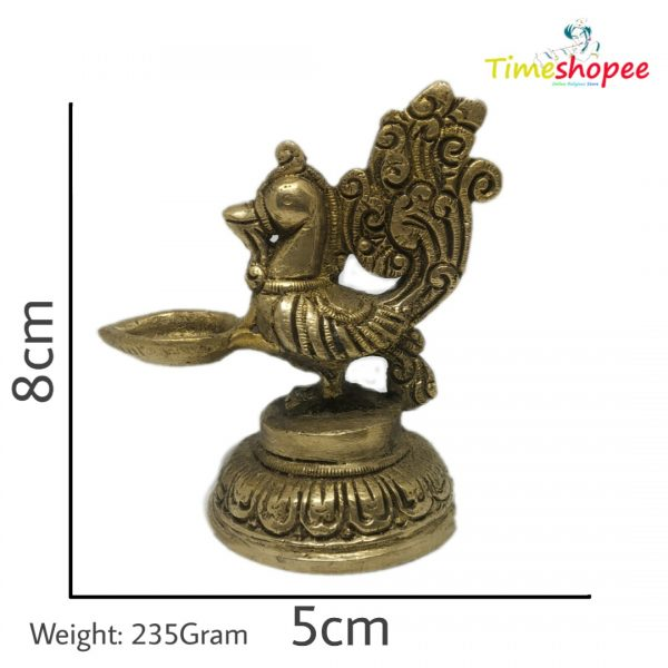 Small Peacock Brass Statue