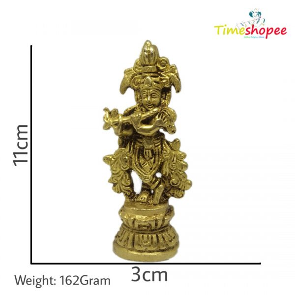 Brass Krishna Standing Playing
