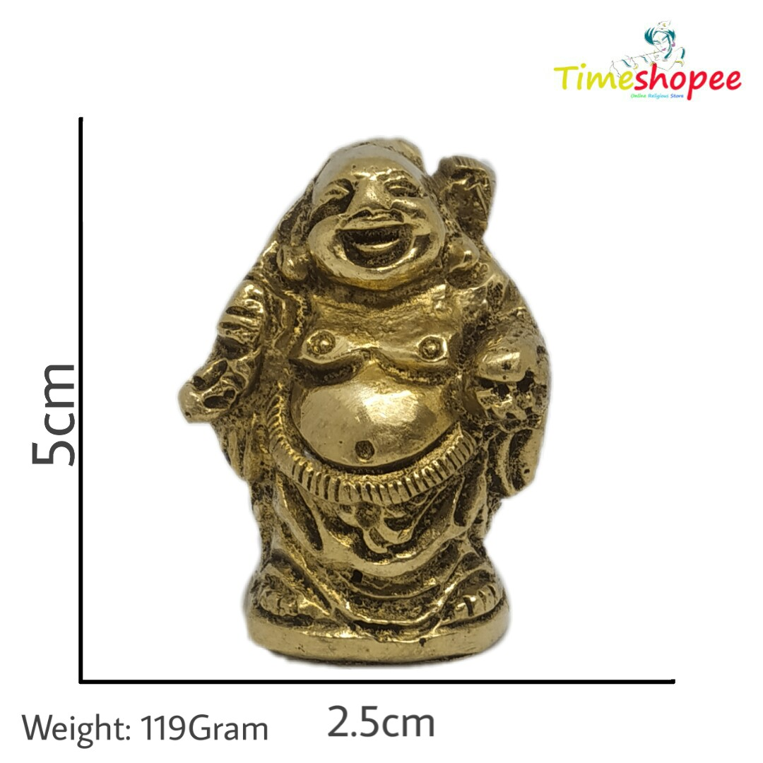 Brass Statue and Sculpture Laughing Buddha for Good Luck and Prosperity