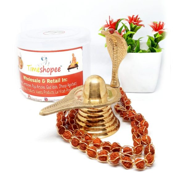 Combo Of Brass Shivling With Gold Plated Brass Beads Rudraksha Mala