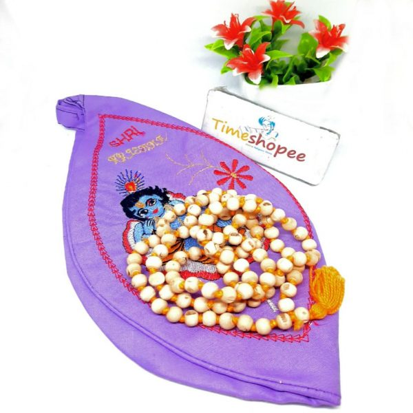 Combo Of Krishna Gaumukhi/Japa Bag With Tulsi Mala
