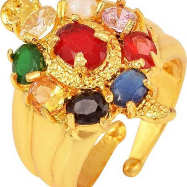 Navaratna navgrah 9 gemstone Adjustable Ring (Golden) Brass Gold Plated Ring