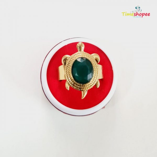 Adjustable Kachua Ring With Panna Gemstone By Timeshopee