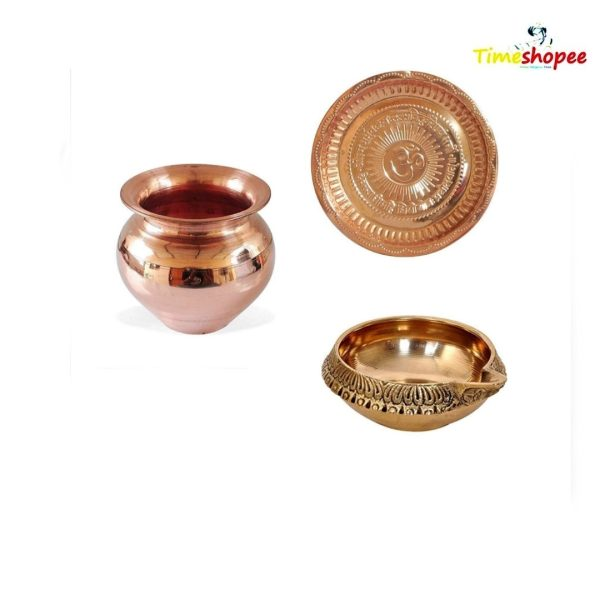 Combo of Brass Oil Lamp With Copper Thali, Copper Kalash By Timeshopee